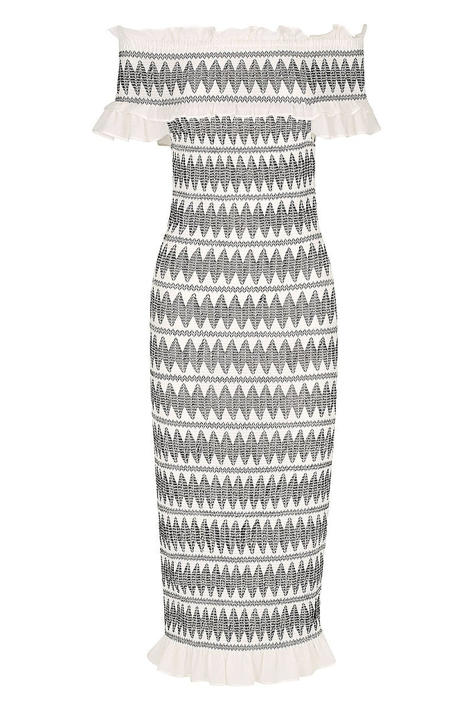 SALCEDO OTS TIERED MIDI DRESS