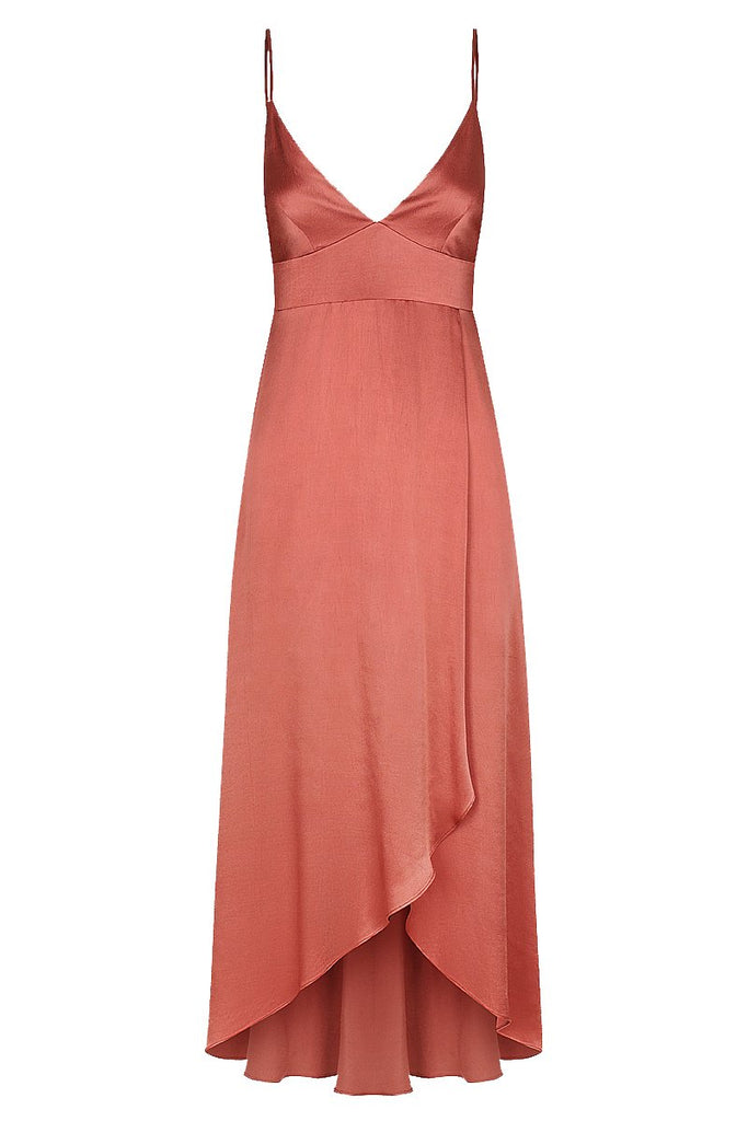 GISELE COCKTAIL MIDI DRESS - TERRACOTTA