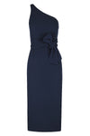 BRYANT ONE SHOULDER MIDI DRESS WITH BELT - NAVY