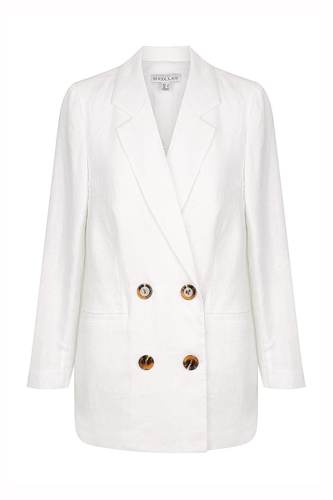 ST MARTIN LINEN DOUBLE BREASTED BLAZER - WHITE