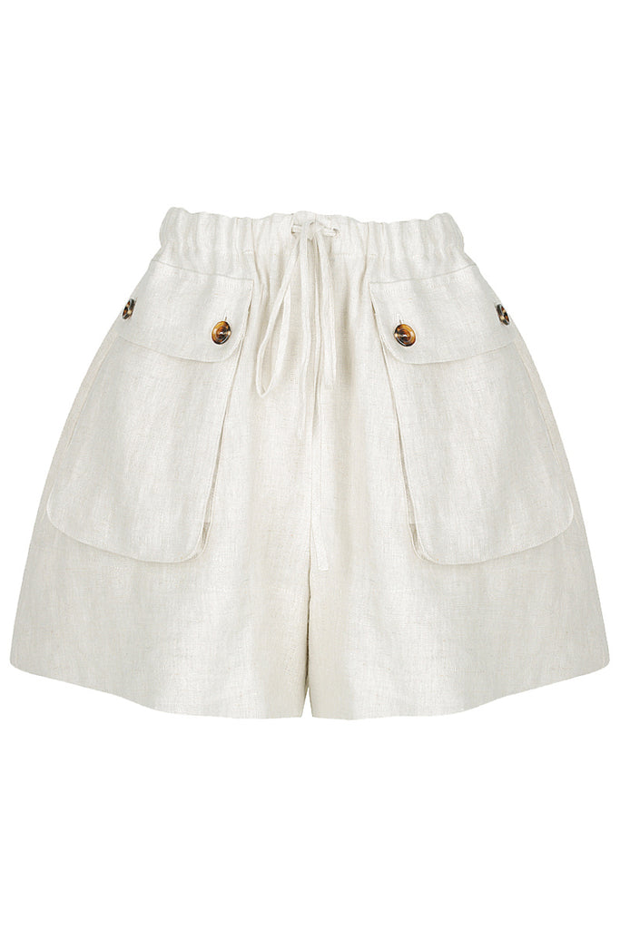 ST MARTIN LINEN SAFARI SHORTS - NATURAL