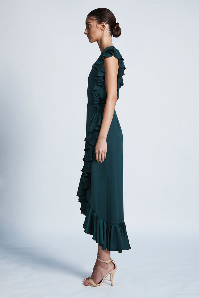 LUXE RUFFLE WRAP DRESS - EMERALD