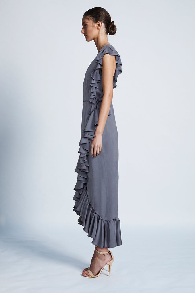 LUXE RUFFLE WRAP DRESS - PEWTER