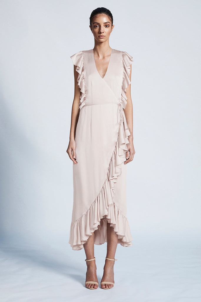 LUXE RUFFLE WRAP DRESS - PORCELAIN