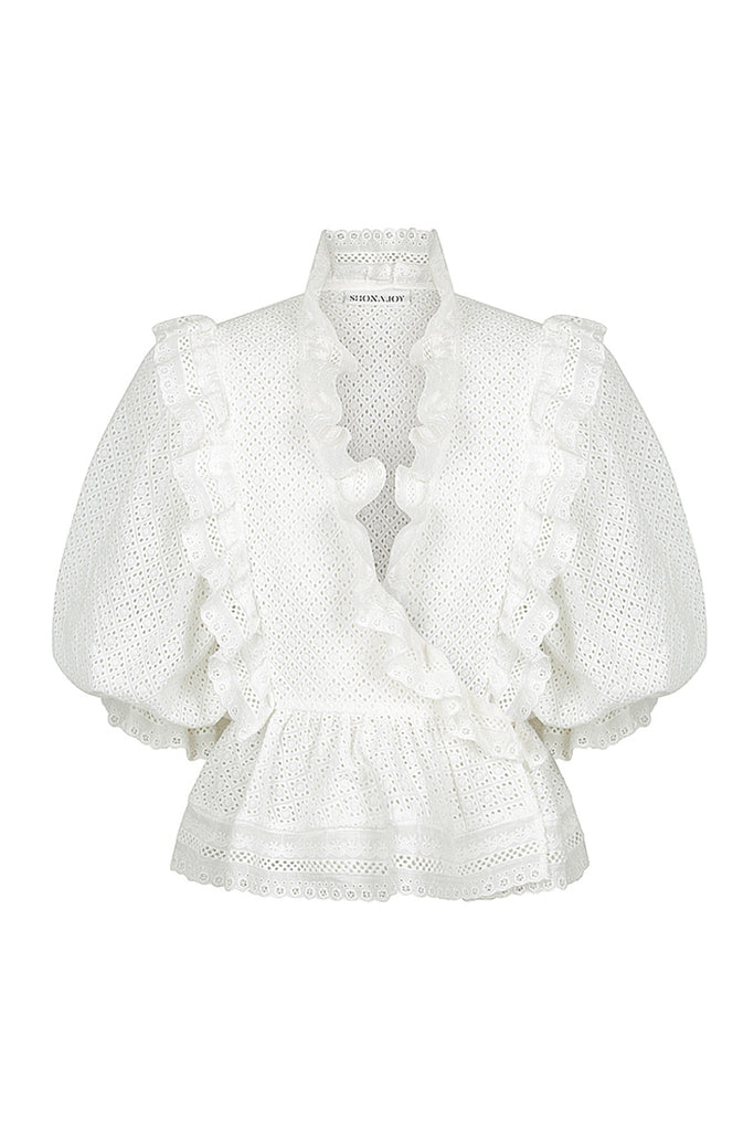 ACKLEY COTTON LACE PUFF SLEEVE WRAP BLOUSE - WHITE
