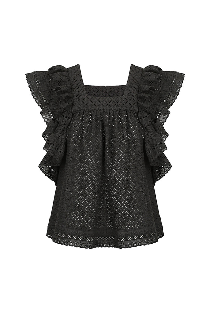 ACKLEY COTTON LACE BABY DOLL TOP - BLACK