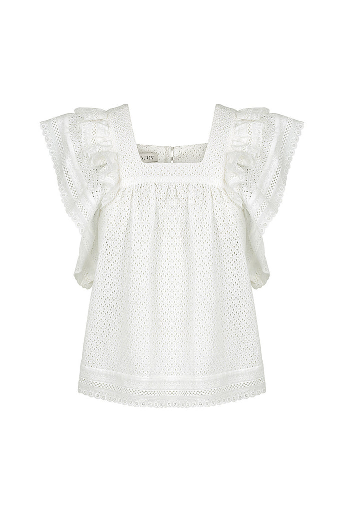 ACKLEY COTTON LACE BABY DOLL TOP - WHITE