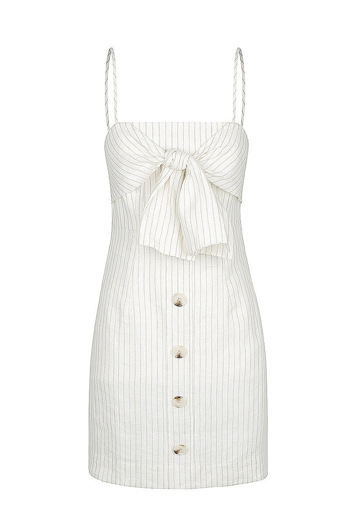 ISADORA LINEN TIE FRONT MINI DRESS