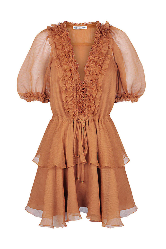 AMBRA PUFF SLEEVE DRAWSTRING MINI DRESS - TOFFEE