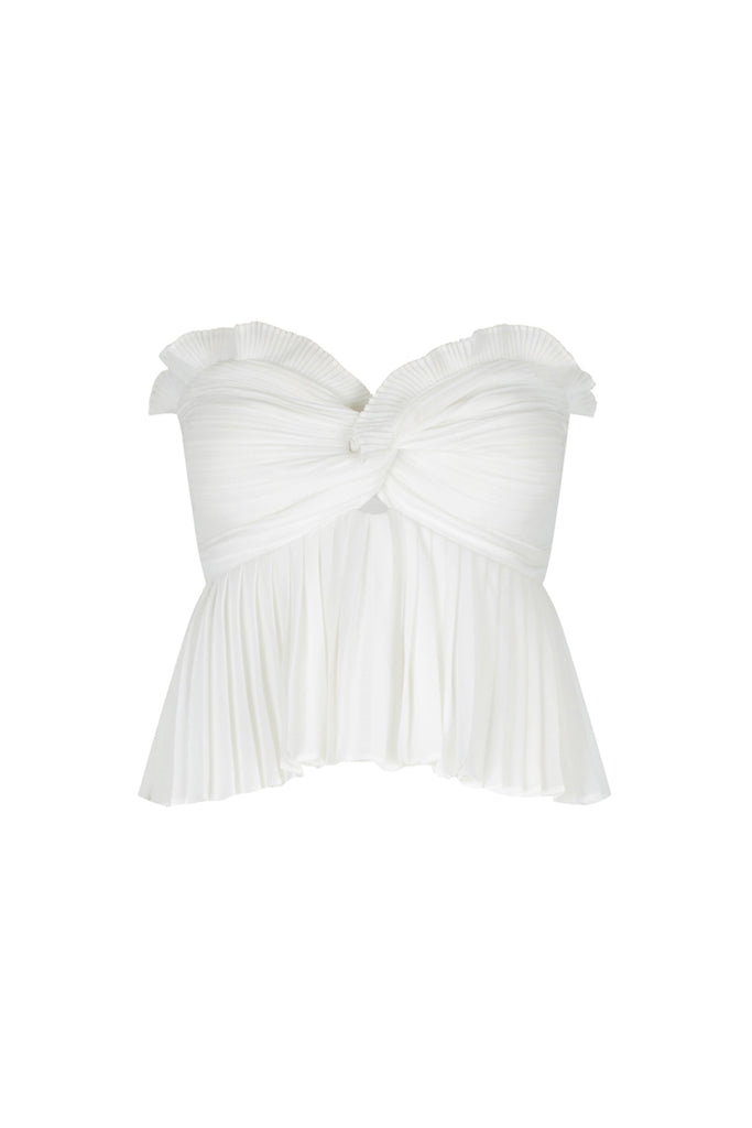 BOTTICELLI PEPLUM CROPPED TOP - WHITE