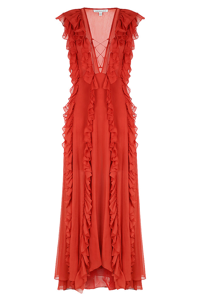 d7d4043d43a CATHERINE LAYERED RUFFLE MAXI DRESS - BURNT RED