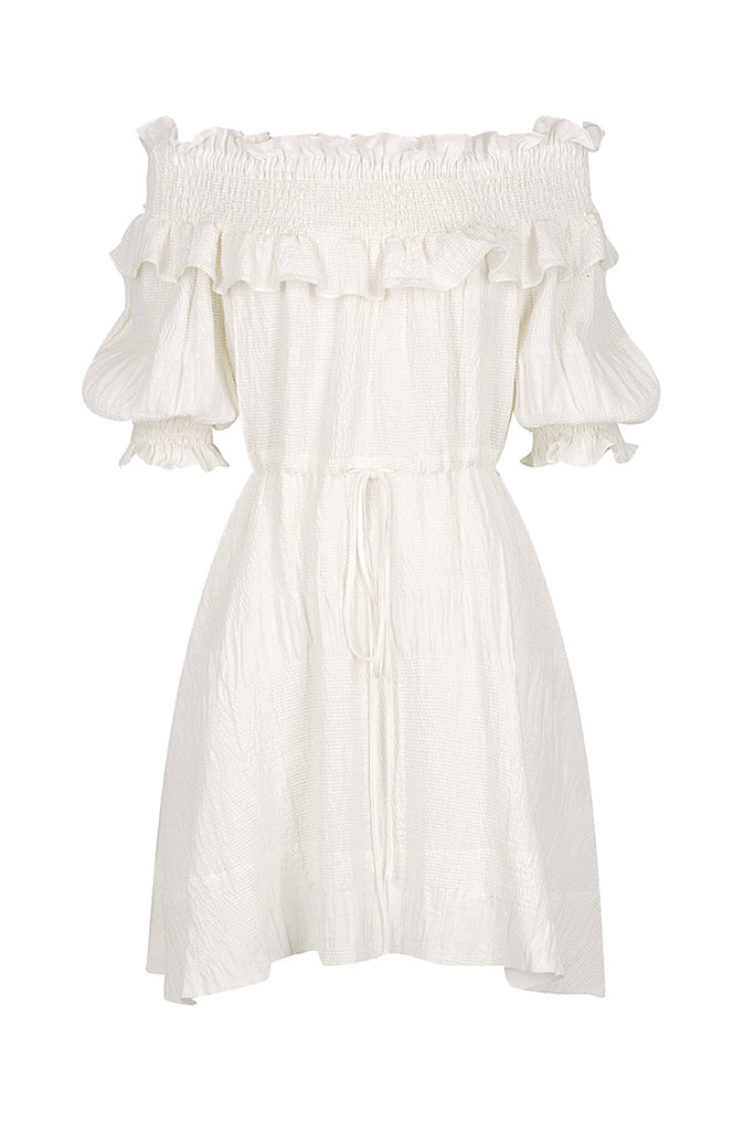CHIARO LINEN OTS SHIRRED MINI DRESS - IVORY