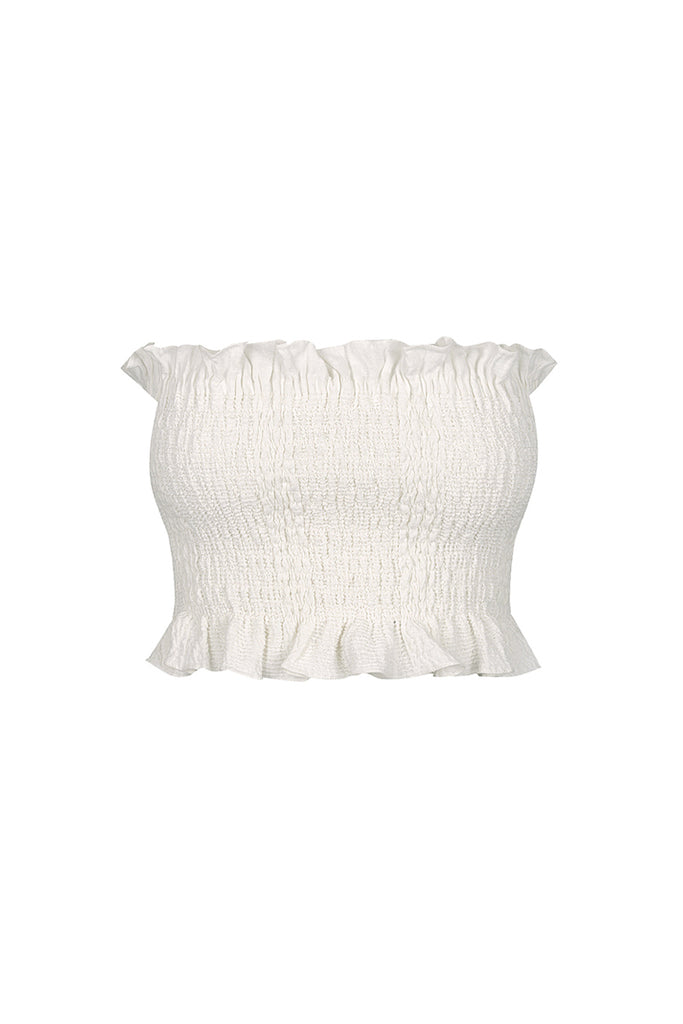 CHIARO LINEN SHIRRED CROP TOP - IVORY