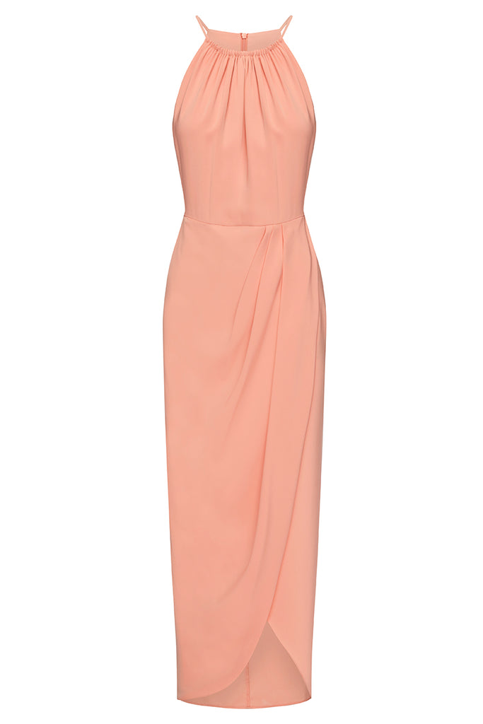 CORE HIGH NECK RUCHED DRESS - DUSTY PINK