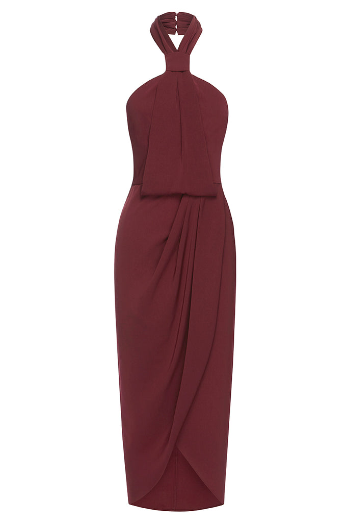 CORE KNOT DRAPED DRESS - BURGUNDY