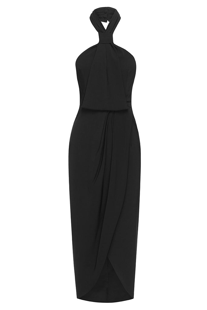 CORE KNOT DRAPED DRESS - BLACK