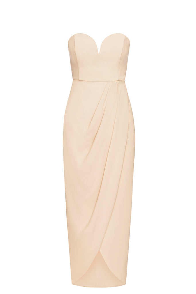 3848b36ad6 CORE  U  BUSTIER DRAPED DRESS - NUDE