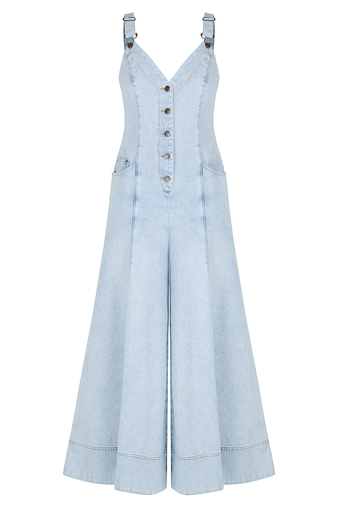 CORTONA FLARED JUMPSUIT - LIGHT BLUE STONE WASH