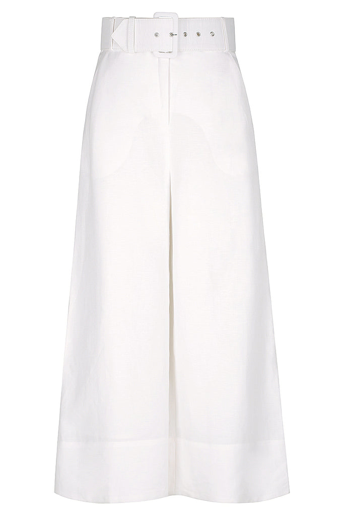 GAIA LINEN HIGH WAIST CULOTTE WITH BELT - IVORY