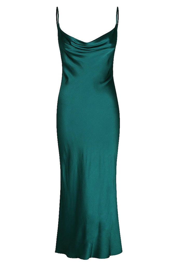GISELE BIAS COWL MIDI DRESS - JADE