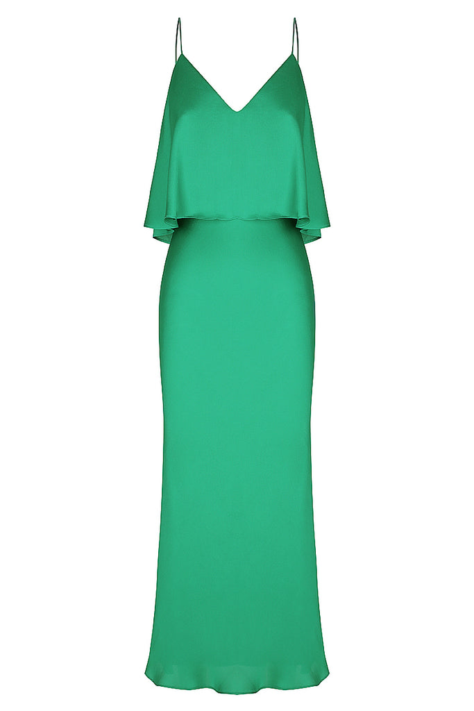 ORO BIAS FRILL MIDI DRESS - JADE