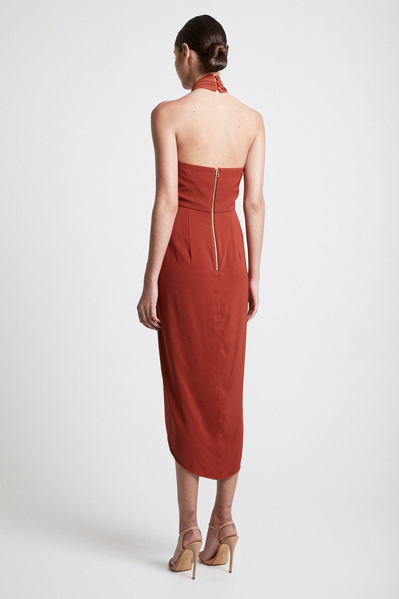 CORE KNOT DRAPED DRESS - RUST