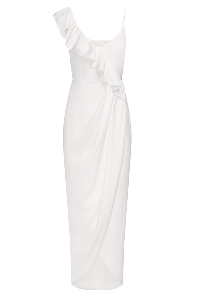 LUXE ASYMMETRICAL FRILL DRESS - IVORY
