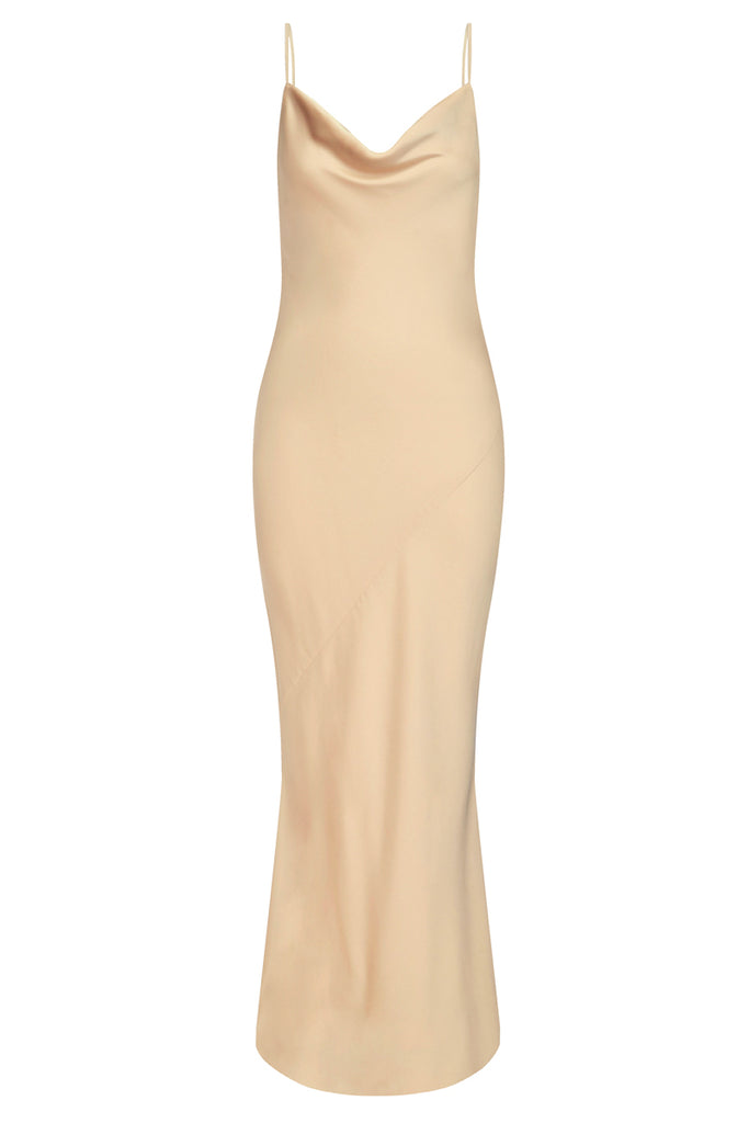 LUXE BIAS COWL SLIP DRESS - CHAMPAGNE