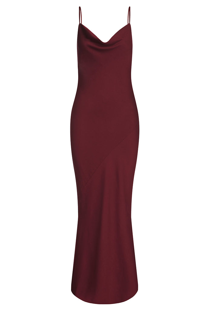 LUXE BIAS COWL SLIP DRESS - GARNET