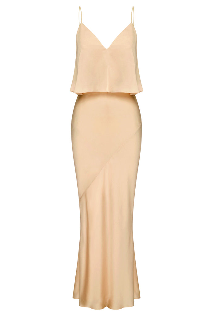 LUXE BIAS FRILL SLIP DRESS - CHAMPAGNE