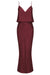 LUXE BIAS FRILL SLIP DRESS - GARNET