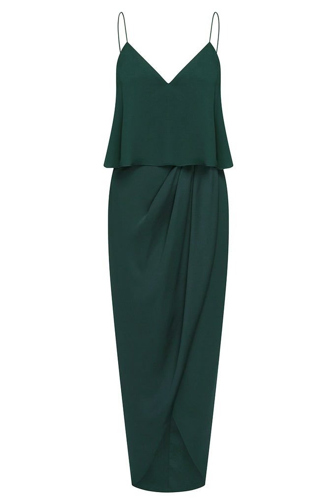 LUXE COCKTAIL FRILL DRESS - EMERALD