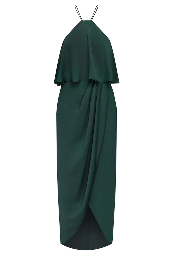 LUXE HALTER FRILL DRESS - EMERALD
