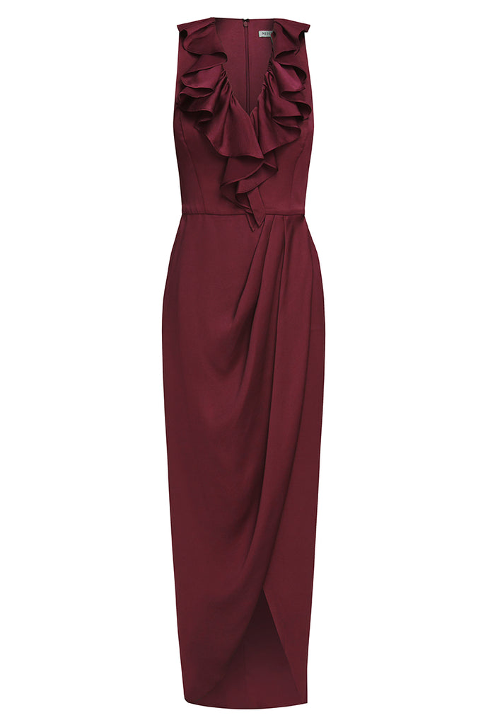 LUXE PLUNGED FRILL DRESS - GARNET