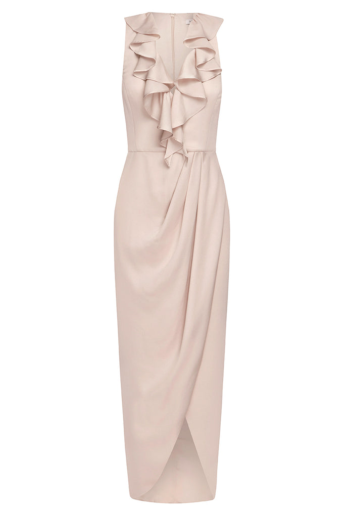 e101cf6a627 LUXE PLUNGED FRILL DRESS - PORCELAIN