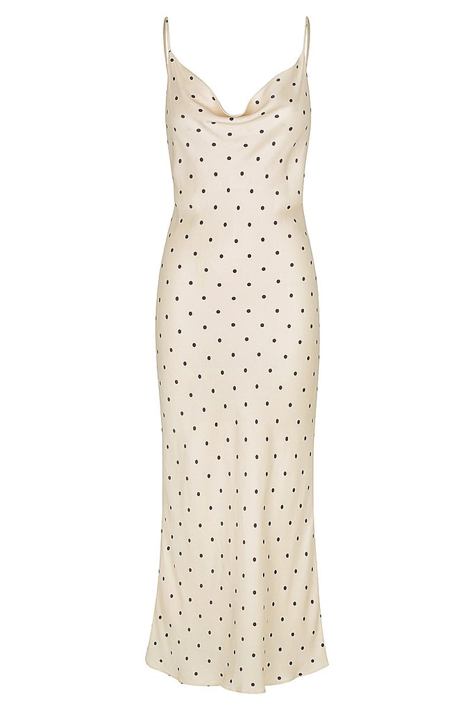O'DELL BIAS COWL MIDI DRESS - CREAM