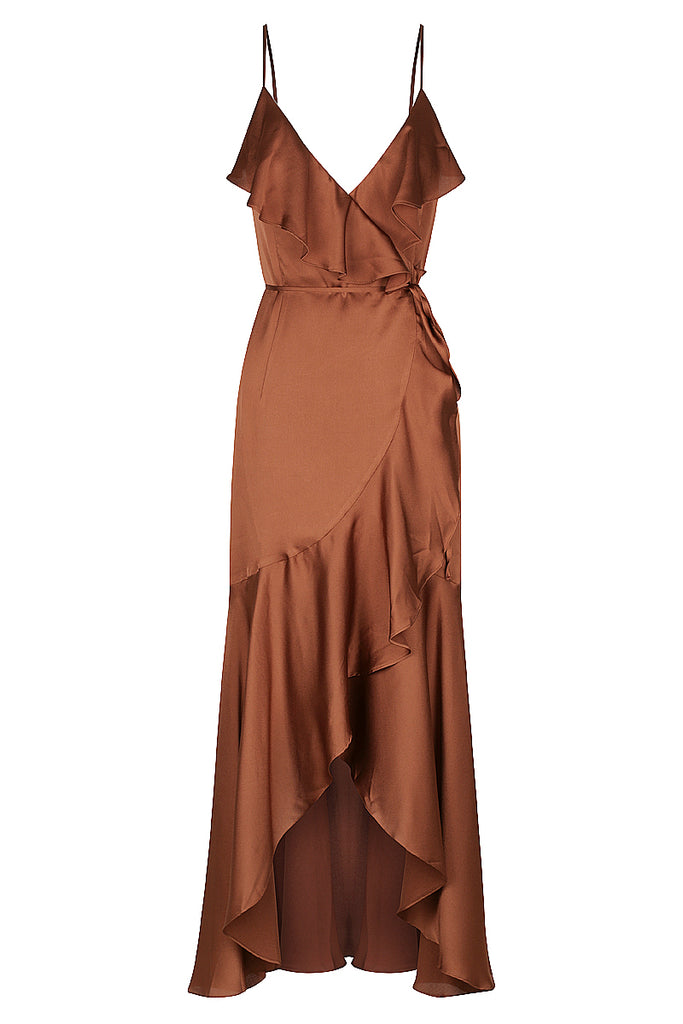 ORO BIAS FRILL WRAP DRESS - MOCHA
