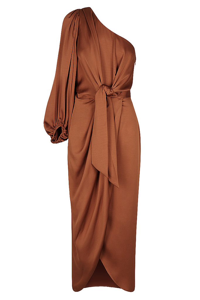 ORO TIE FRONT ONE SHOULDER MIDI DRESS - MOCHA
