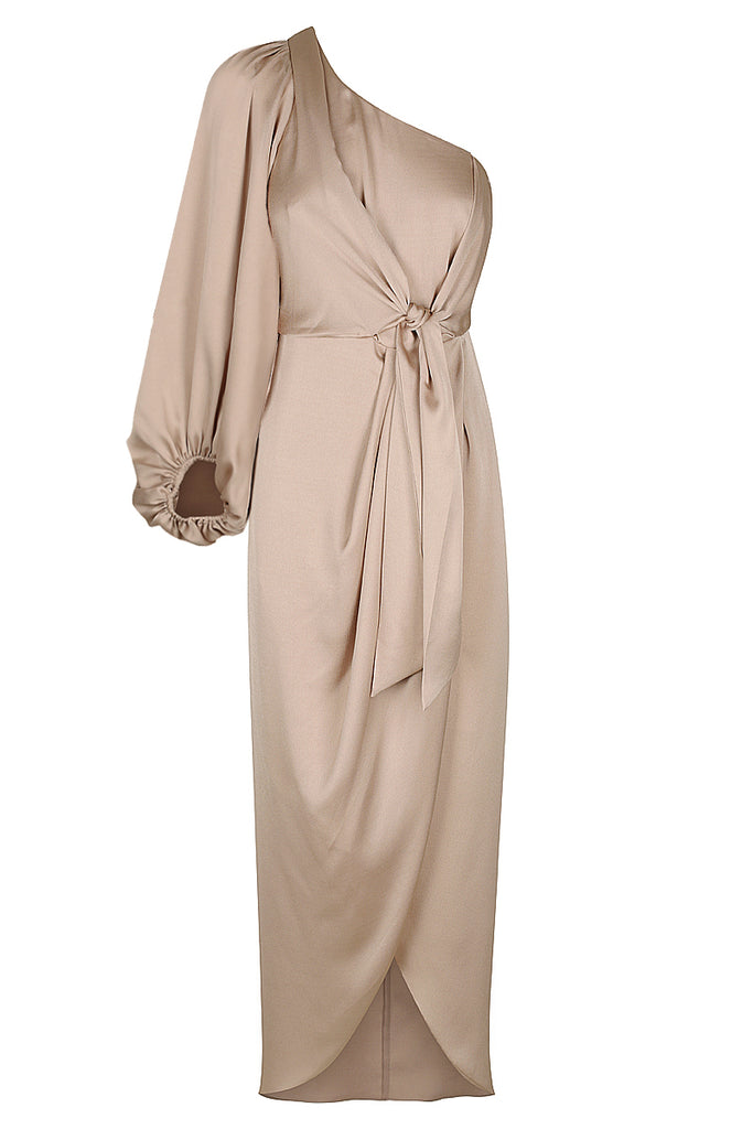 ORO TIE FRONT ONE SHOULDER MIDI DRESS - STONE