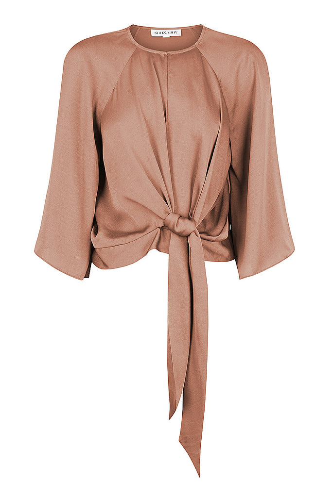 SAWYER TIE FRONT BLOUSE - COCOA
