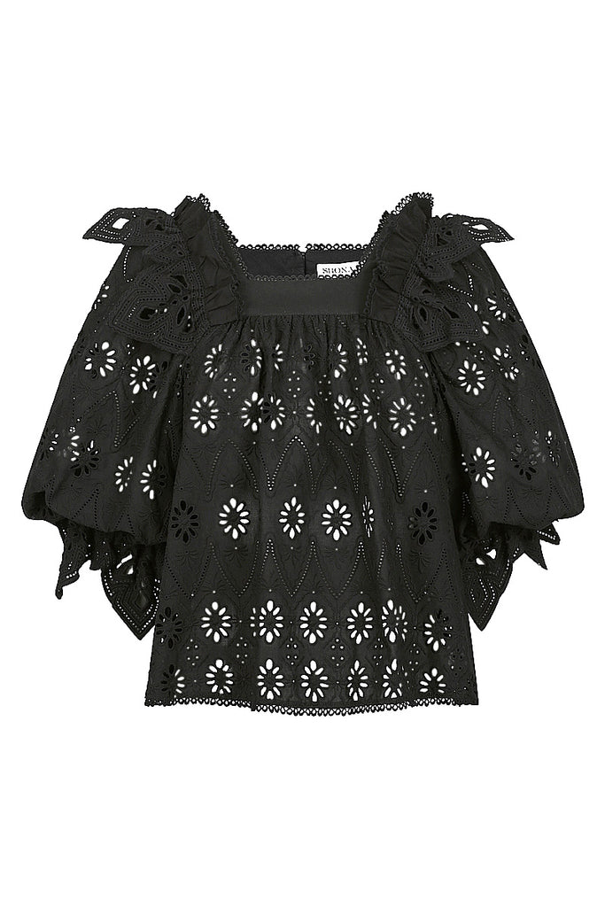 VIOLA COTTON LACE PUFF SLEEVE BABY DOLL BLOUSE - BLACK