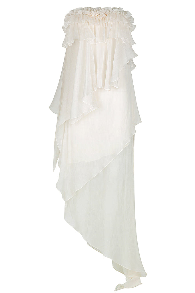 WILLOW ASYM RUFFLE MAXI DRESS WITH PETAL TRIM - CREAM