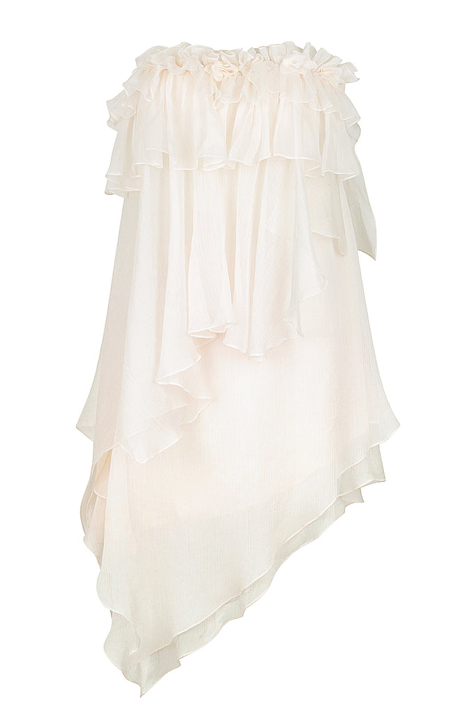 WILLOW ASYM RUFFLE MINI DRESS WITH PETAL TRIM - CREAM