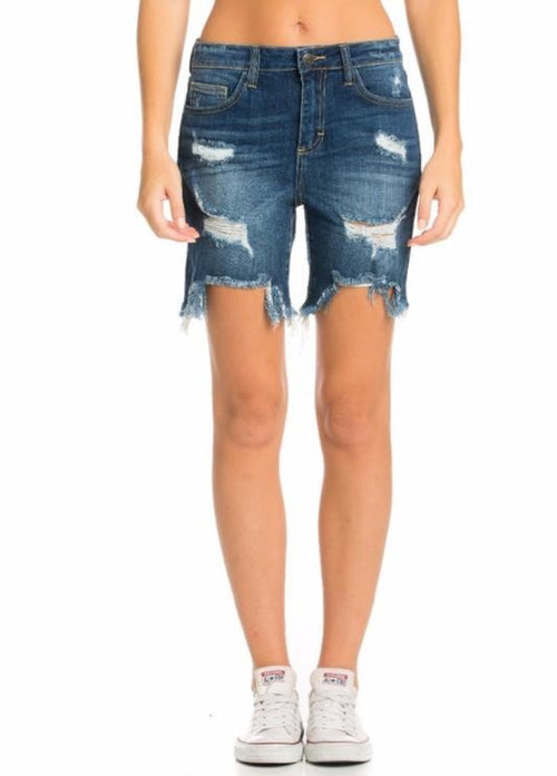 """Take Me South"" Frayed Shorts Dark Wash  - Kris Janel"
