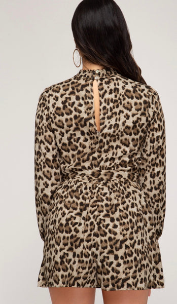 Animal Print Smocked Romper  - Kris Janel