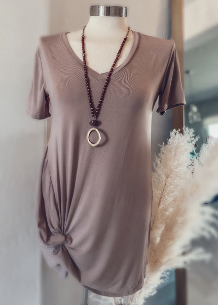 Knotty Hem Dress - Taupe
