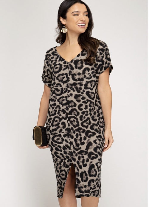Drop Shoulder Leopard Dress  - Kris Janel