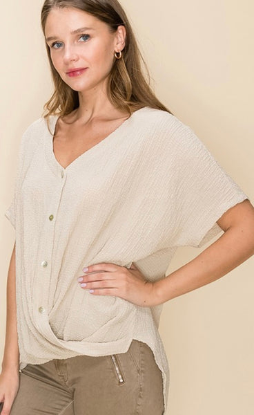 Crinkle High Lo Top - Taupe  - Kris Janel