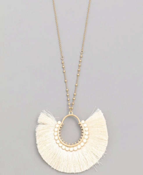 Tassel Fan Pendant Necklace  - Kris Janel