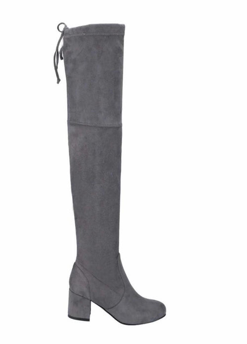 Curb Appeal Suede Tall Boots - Grey  - Kris Janel